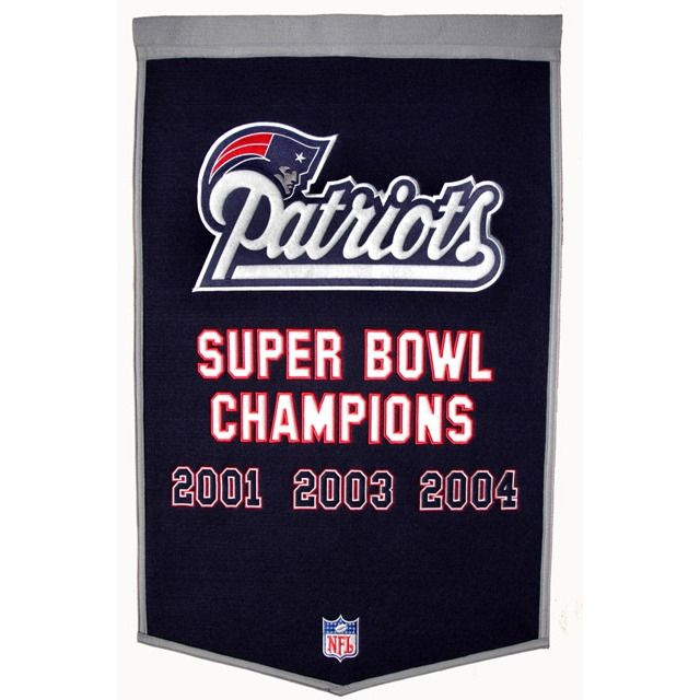 New England Patriots Vintage Wool Dynasty Banner With Cafe Rod
