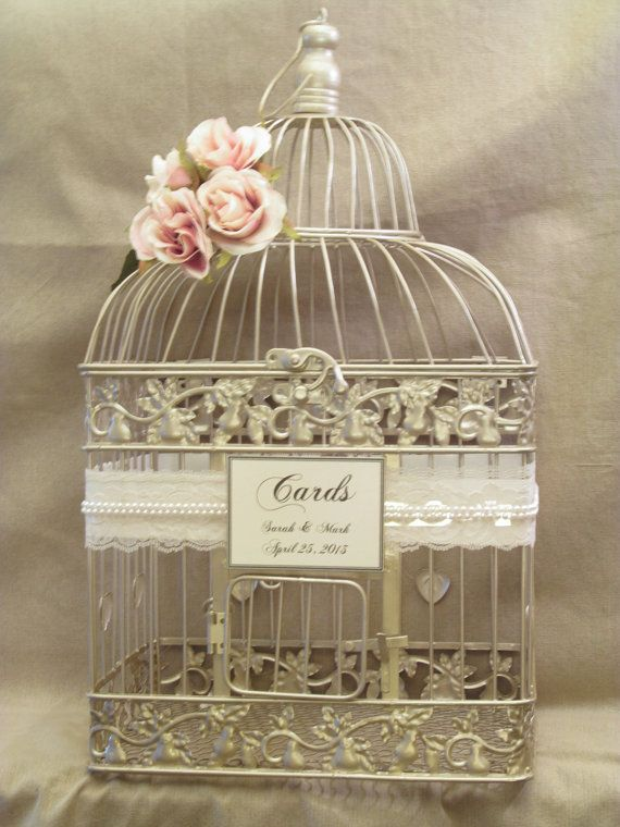 Vintage Wedding Gift Card Holder : Card Box / Champagne Birdcage / Pearls / Bird Cage Wedding Card Holder ...