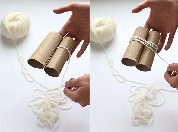 She winds wool around 2 rolls of toilet paper. What comes of it simply needs every home.