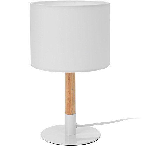 Design Nachttischlampe In Weiss Hohe 34 Cm Holz Nachttischleuchte Tischlampe Verlichting
