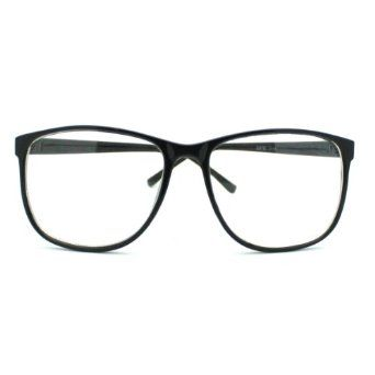 black large nerdy thin plastic frame clear lens eye glasses frame