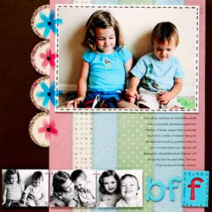 Flower Border PageScrapbook Ideas, Flower Border, Flower Layout, Circles Scallops, Floral Them Scrapbook, Scrapbook Layout, Scrapbook Pages, Crafts, Scrapbooking Layouts