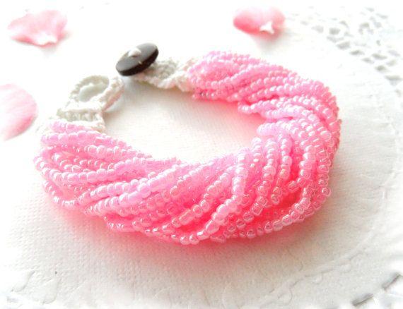 Pink Pearl Bracelet Beaded Bracelet Crochet by CraftsbySigita