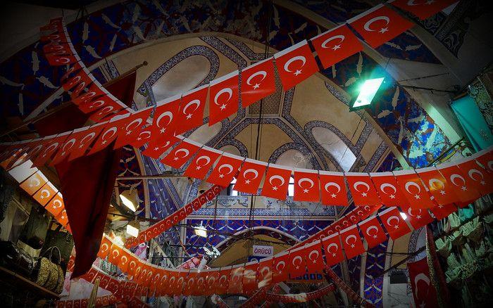 Turkish flags inside the Grand Bazaar in Istanbul, Turkey.