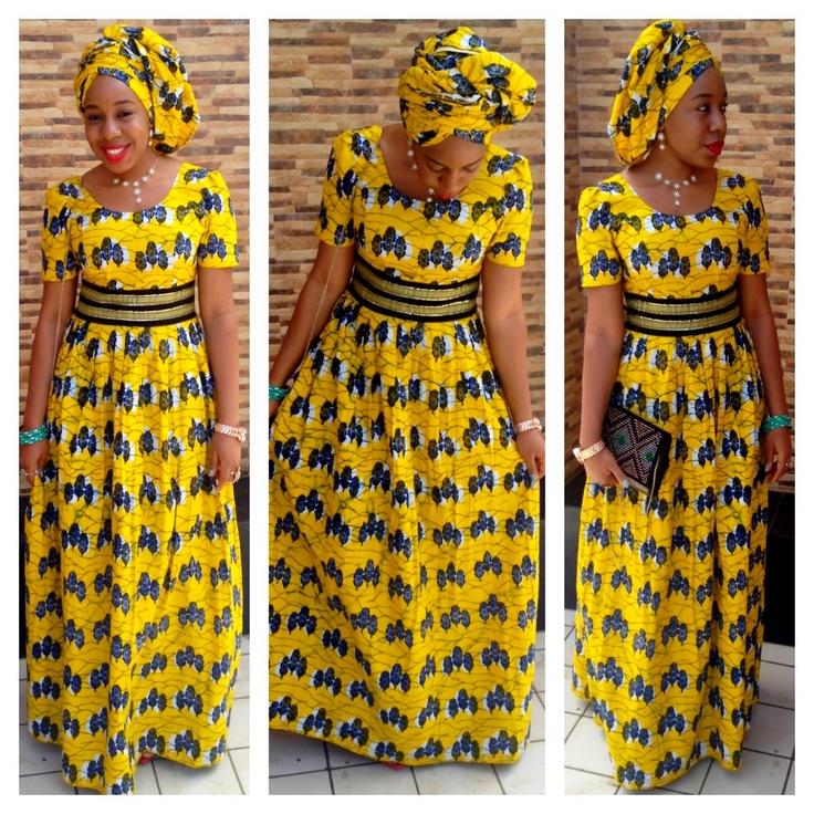 Yellow ankara print dress