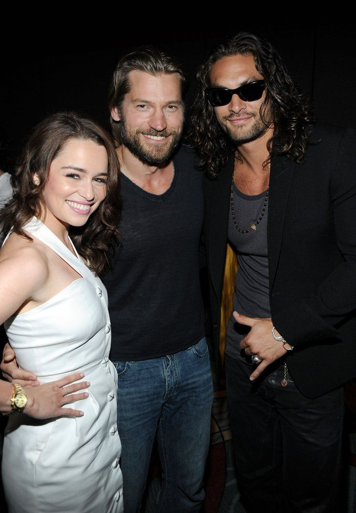 Pin for Later: A Semi-Heartbreaking Look Back at the First Game of Thrones Events Emilia Clarke, Nikolaj-Coster Waldau, and Jason Momoa (Khal Drogo)