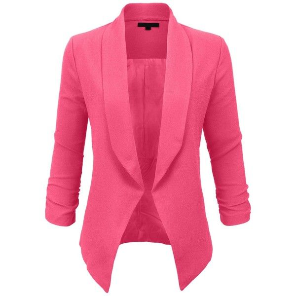 LE3NO Womens Textured 3/4 Sleeve Open Blazer Jacket ❤ liked on Polyvore featuring outerwear, jackets, blazers, three quarter sleeve jacket, 3/4 sleeve blazer, drape jacket, fleece-lined jackets and shoulder pad jacket