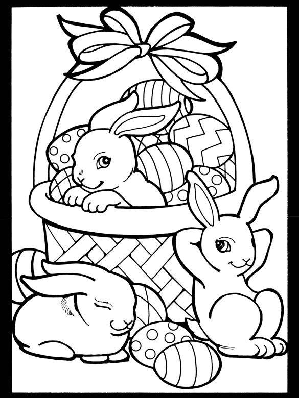 Påskbrev med korg och kaniner.