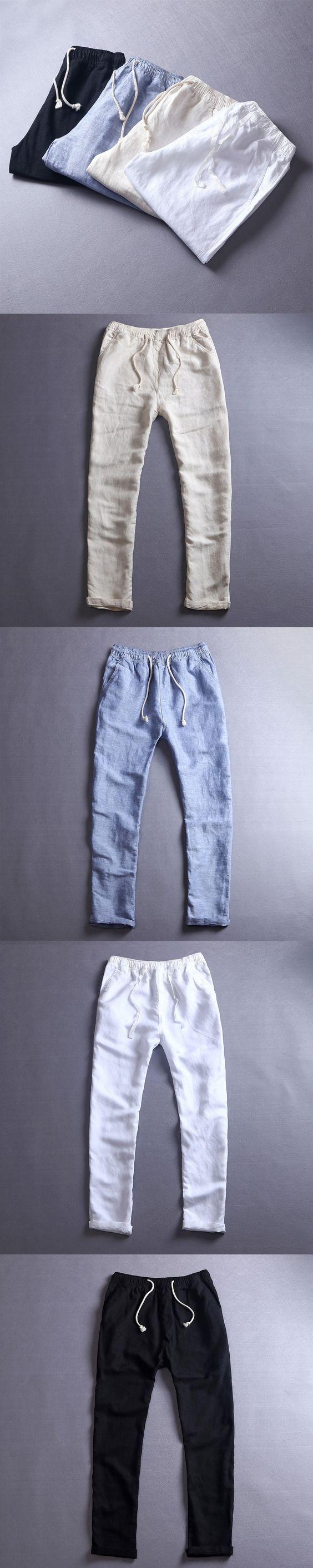 2017 Men's Summer Casual Pants Natural Cotton Linen Trousers White Linen Elastic Waist Straight Pants Y026