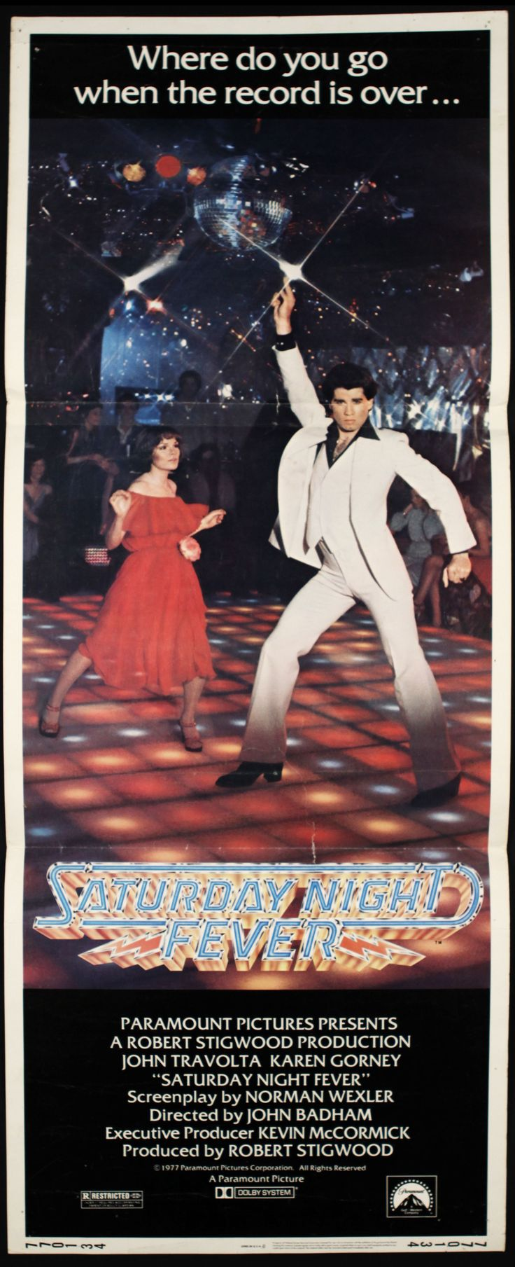 saturday night fever movie poster | 1977 Saturday Night Fever Insert (14x36) Original Movie Poster (MEARS ...