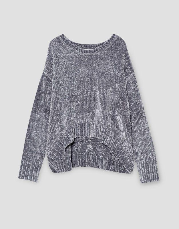 Jersey chenilla bajo redondeado - Punto - Ropa - Mujer - PULL&BEAR España