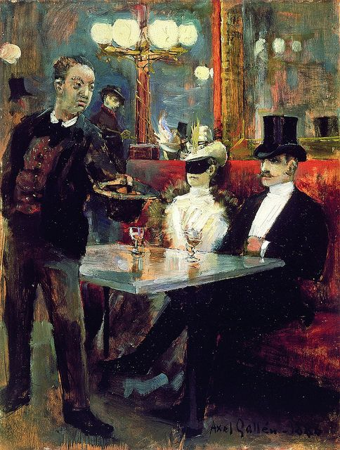 Akseli Gallen-Kallela - Parisian café, via Flickr.