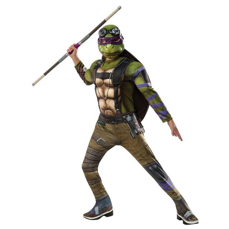 Kids Teenage Mutant Ninja Turtles Movie 2: Donatello Deluxe Muscle Costume, Boy's, Size: Large, Multicolor