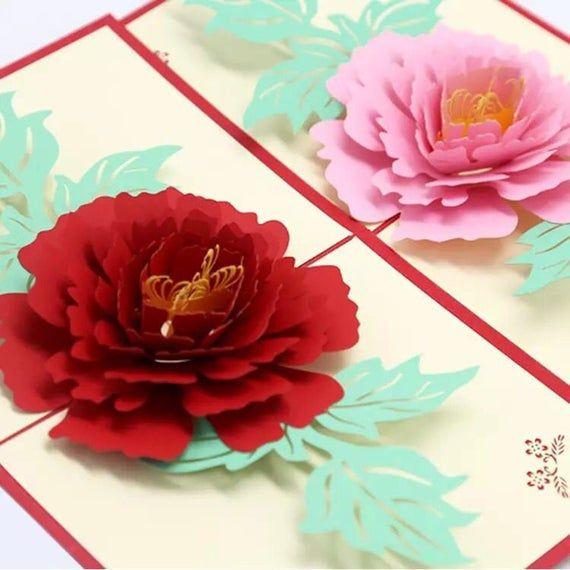 3d Peony Greeting Card Birthday Flower Pop Up Card Thank You Etsy Flower Cards Handmade Flower Cards Birthday Greeting Cards