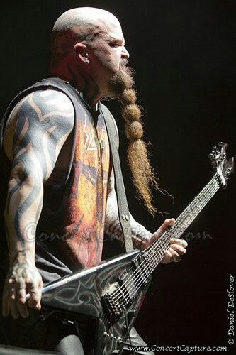 """KERRY KING of SLAYER with his long beard and signature bc rich guitar on stage  """"The World's No:1 Online Heavy Metal T-Shirt Store"""". Check it out our Metalhead Clothing and Apparel Store, Satanic Fashion and Black Metal T-Shirt Stores; www.HeavyMetalTshirts.net"""