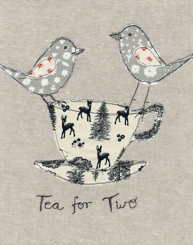 Free motion embroidery tea cup birds tea for two textile art
