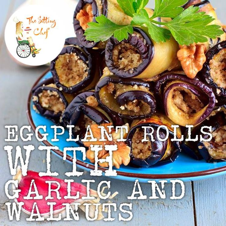 Best Eggplant Rolls with wallnuts, mint and garlic! Great as lunch or apetizer. You can also add some goat cheese or cottage or ricotta cheese. Serve lukewarm or cold.
