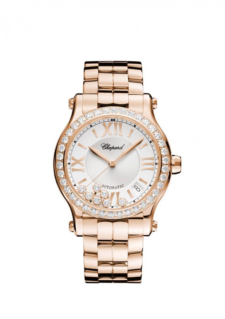 Orologio Happy Sport 36mm automatico oro rosa 18 carati e diamanti.