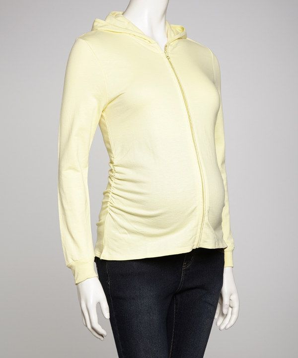 Look what I found on #zulily! Lilo Maternity Yellow Maternity Zip-Up Hoodie by Lilo Maternity #zulilyfinds