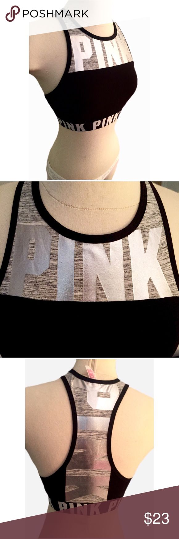 VS pink high neck cotton logo sports bra High neck, cotton, logo band, metallic silver lettering, sports bra, super cute! NEW WITH TAGS!! This bra will fit bra sizes 34AA-B and  32A-C! PINK Victoria's Secret Other