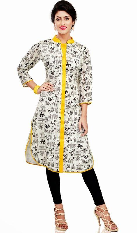 Designer off white and yellow cotton tunic is a straight cut formal kurti which is embellished with yellow stand collar and all over masaba inspired block print which gives you an elegant look. #ClassicalTunic