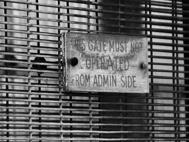 "http://facebookdominance.com/ The sign says: ""This gate must not be operated from admin side."""