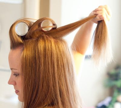 Volume to thin hair using flat iron and Velcro curlers