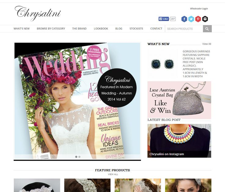 Chrisalini's gorgeous range of Australian designed and hand-finished #Jewellery with particular focus on the #Bridal market. A striking #ecommerce solution showcasing the natural beauty of each piece.