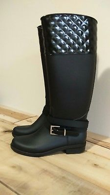 YOKI BLACK STRAPPY QUILTED TALL WOMEN'S RAIN BOOTS SIZE 8 NEW WITH TAGS