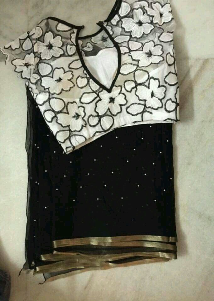 Designer blouse plain saree                              …