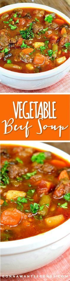 This Hearty, Old Fashioned Vegetable Beef Soup has an incredibly rich broth and is loaded with tender chunks of beef, and all the right veggies!