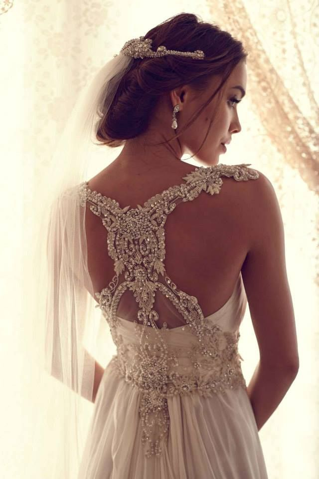 Back Detail Wedding Dresses: Anna Campbell Gossamer Collection. But id want to cut that little tail off