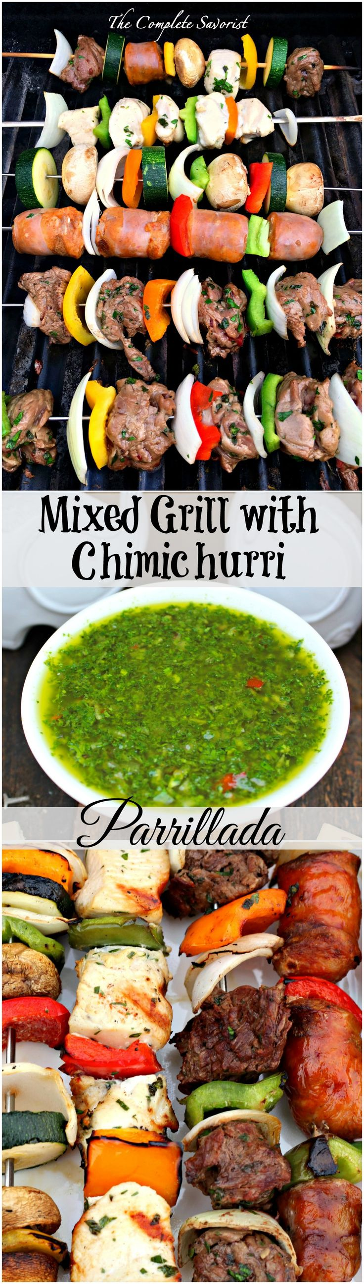 Msg 4 21+ Mixed Grill with Chimichurri Parrillada ~ Latin-inspired grilled skewers of steak, chicken, sausage and vegetables with fresh chimichurri ~ The Complete Savorist #SummerVino #VeranoSutter ad