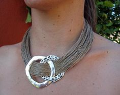Necklace Linen Natural Soft Fantasy Resin Silver by espurna88