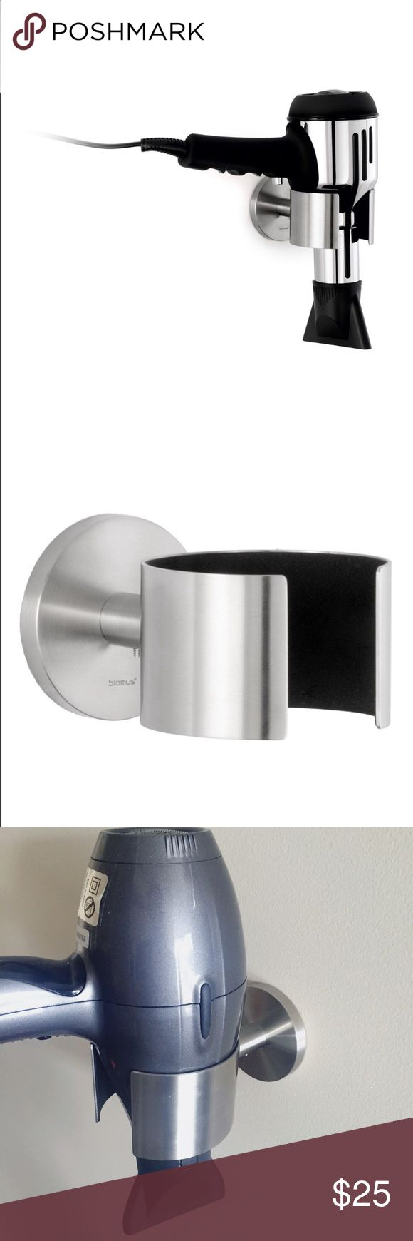 Blomus Holder for Hair Dryers This is a brand new, stainless steel hair dryer holder for your bathroom wall. This helps keep your blow dryer and bathroom neat and organized with its convenient wall mount. This includes all screws to mount the unit (just two holes) easily. Blomus Accessories Hair Accessories