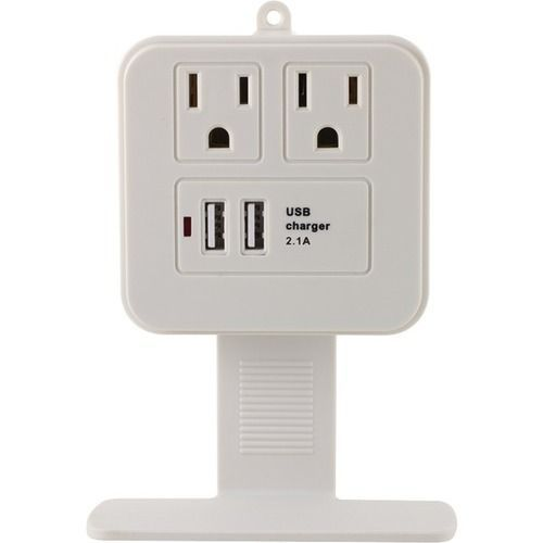 GE 14627 2-Outlet Surge Protector Wall Tap with Phone Shelf & 2.1A USB Charging