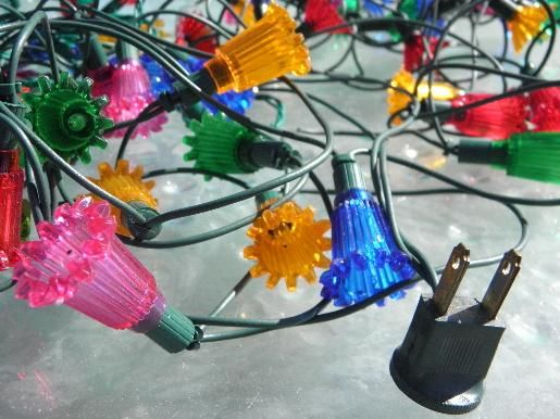 lot of vintage christmas lights three strings each a different style of flower shaped reflectors of midget size light bulbs - Reflector Christmas Lights