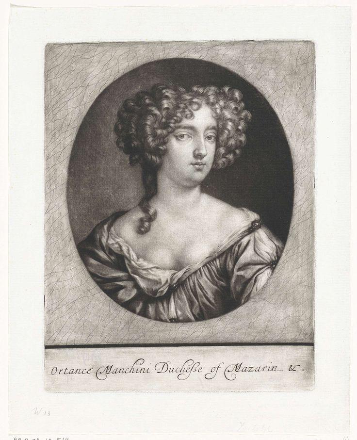 Jan Verkolje (I)   Portret van Hortense Manzini, hertogin van Mazarin, Jan Verkolje (I), Peter Lely (Sir), 1680   Hortense Manzini, hertogin van Mazarin. Ze was een van de maîtresses van Karel II van Engeland.