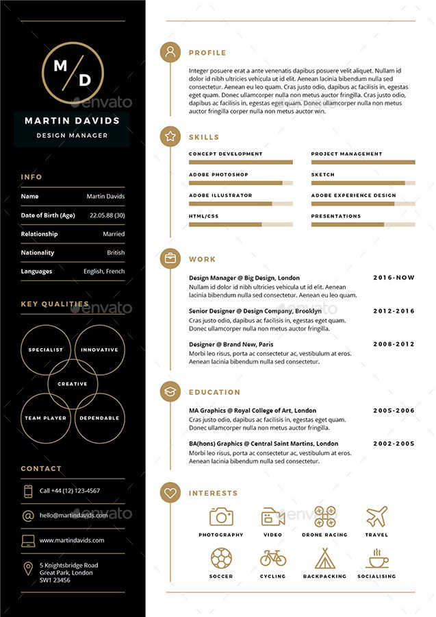 CV/Resume  CV/Resume is a clean, elegant and professional resume template designed to make your life easier.   Easy to edit and customise, CV/Resume includes a one page resume design, cover lette...