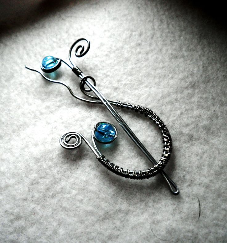 wire bead shawl pin