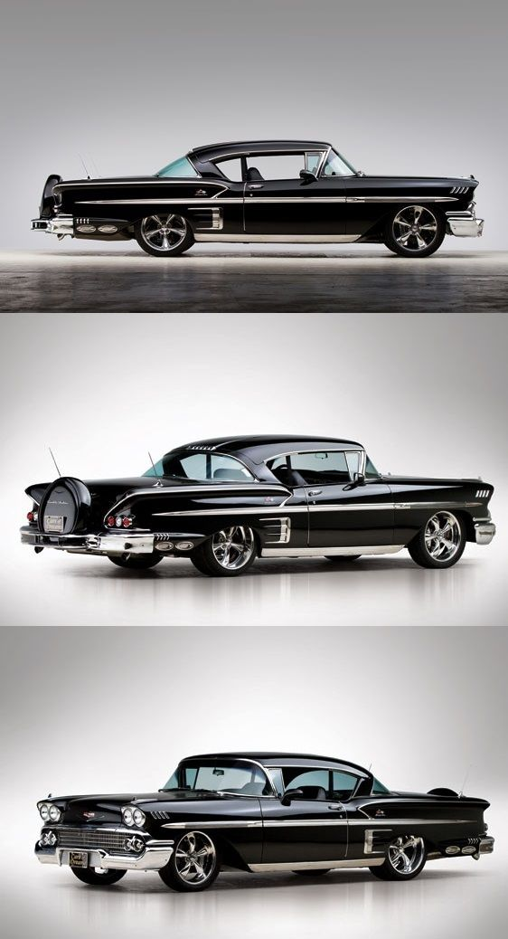 '58 Chevrolet Bel Air Impala  yummmm. If it's going to be black, put some CHROME on that thing.