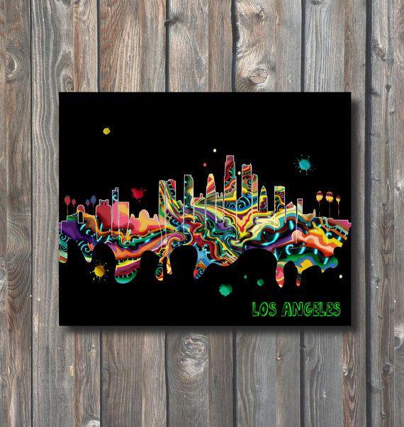 PRINTABLE Los Angeles Skyline Wall by HappyFiestaDesign on Etsy