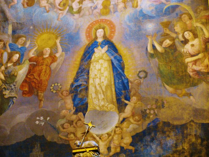 Painted image of Our Lady above the main altar in Puebla's Cathedral. MADONNAS OF MEXICO