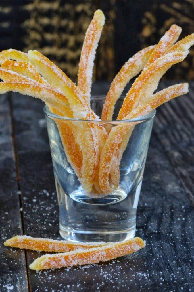Make your own candied orange peel at home. Much better in taste and very easy on the pocket.