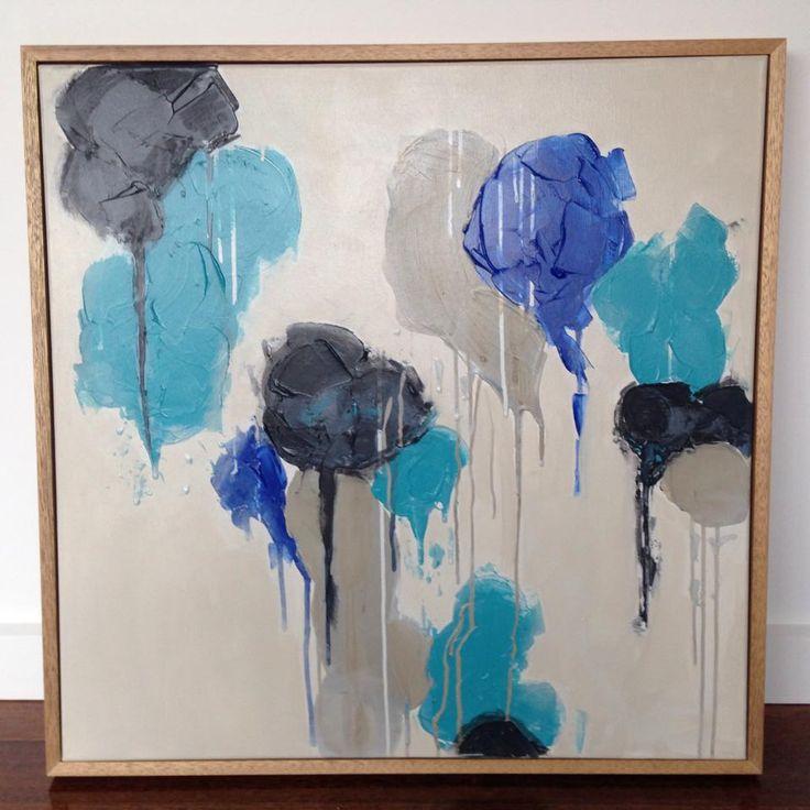 Sandy Rockpools Abstract Art Painting (Daniela Kiss 76 x76cm Acrylic on canvas)