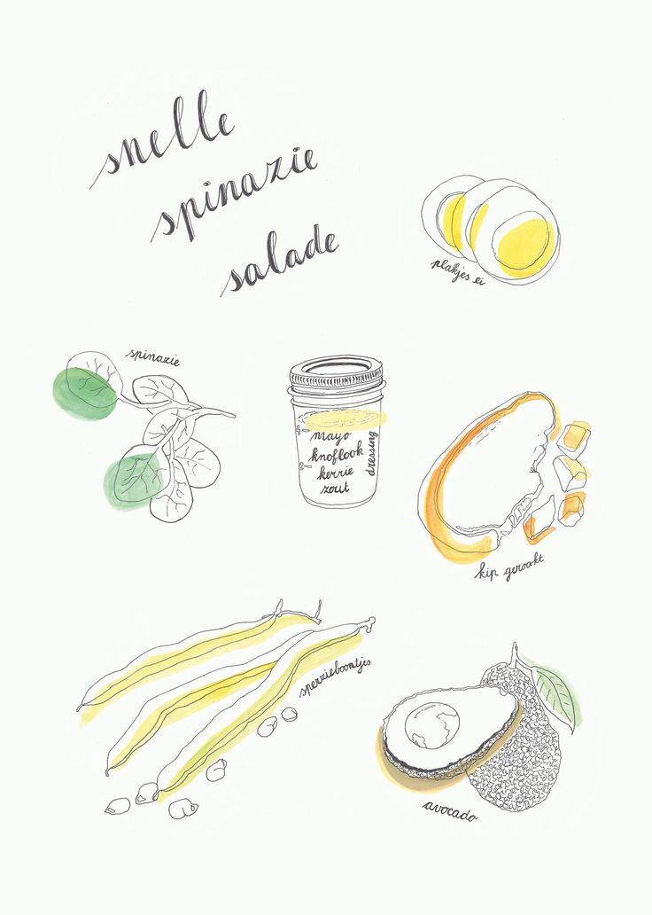 Receptenansichtkaart A5 formaat: Snelle spinazie salade door HappyView op Etsy https://www.etsy.com/nl/listing/540951359/receptenansichtkaart-a5-formaat-snelle