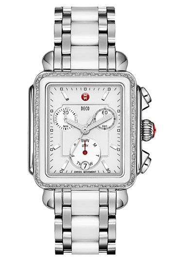 MICHELE 'Deco Diamond' Ceramic & Stainless Steel Customizable Watch  available at #Nordstrom