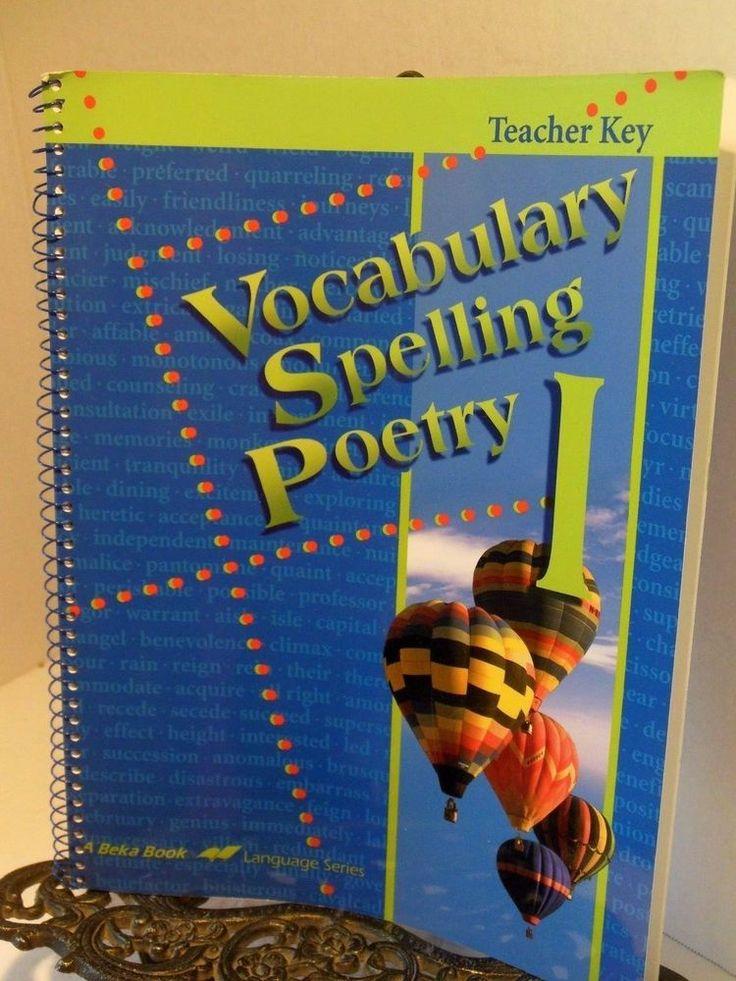 A Beka Teacher Key Vocabulary Spelling Poetry I Christian Homeschooling Abeka #TeacherKey