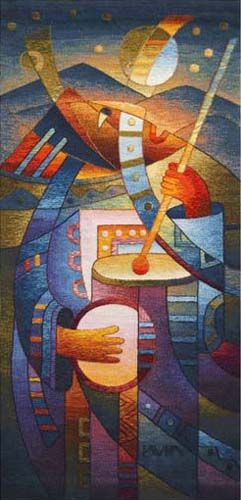 Serenata Nocturna - another vibrant tapestry by Maximo Laura