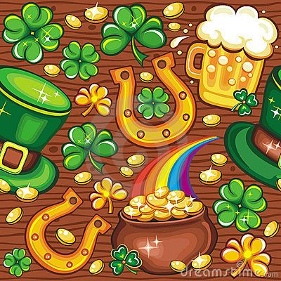 St. Patrick's Day seamless background by Dianka, via Dreamstime
